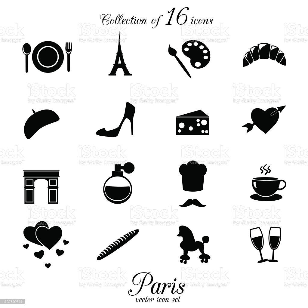 Paris icon collection. vector art illustration