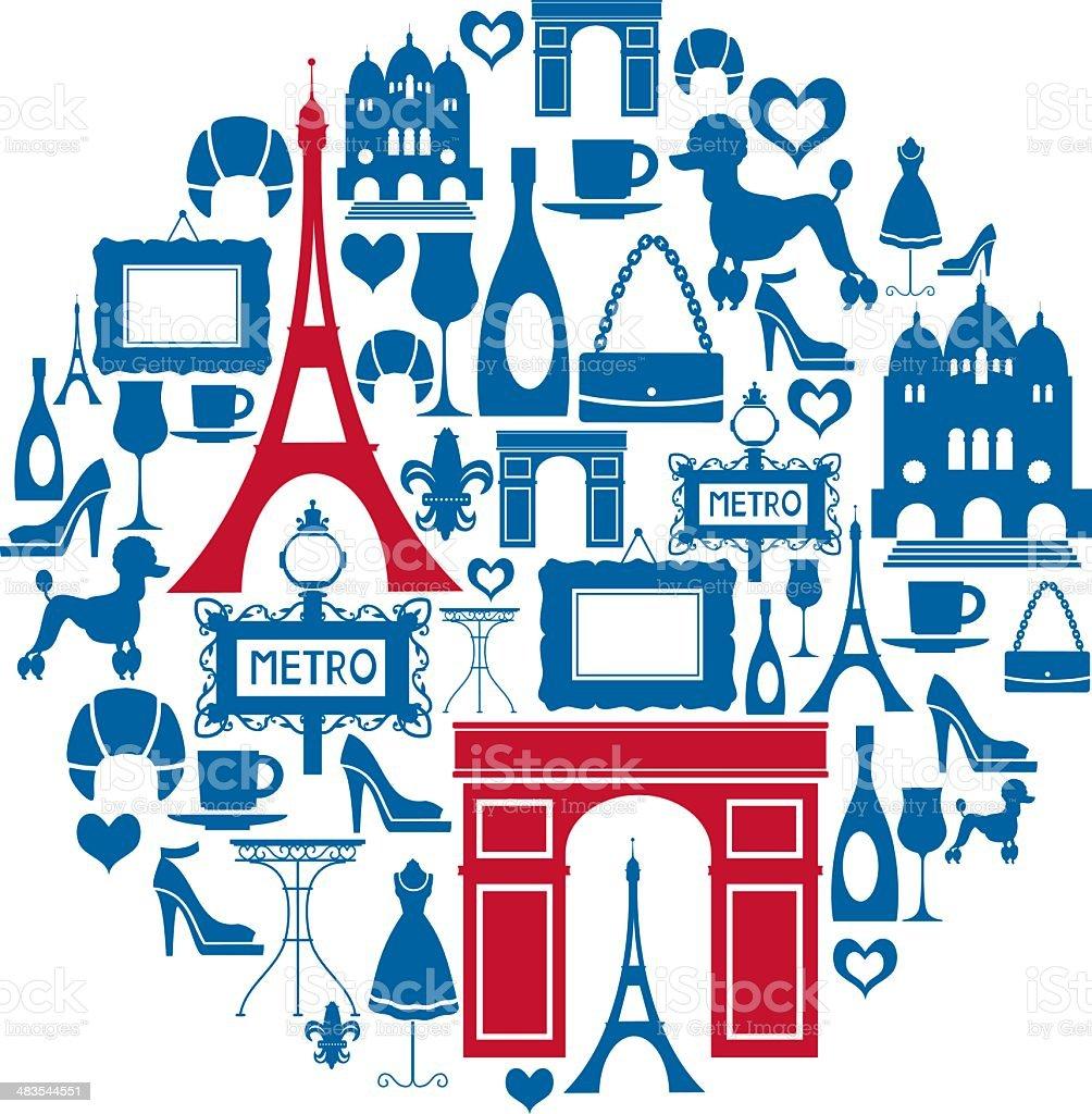 Paris Icon Montage vector art illustration