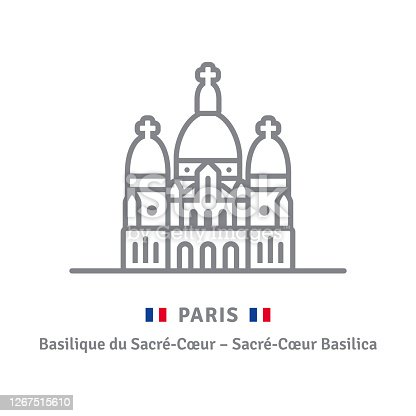 istock Paris icon with Sacre-Coeur basilica and flag 1267515610
