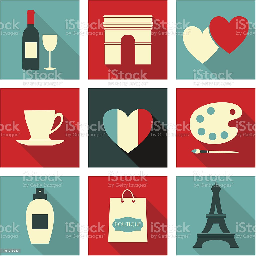 Paris Icons Collection vector art illustration