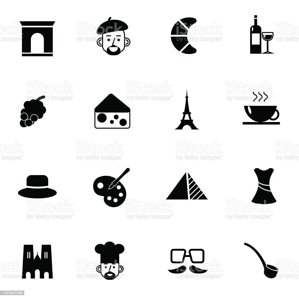 paris icons set vector illustration vector art illustration