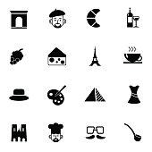 paris icons set vector illustration