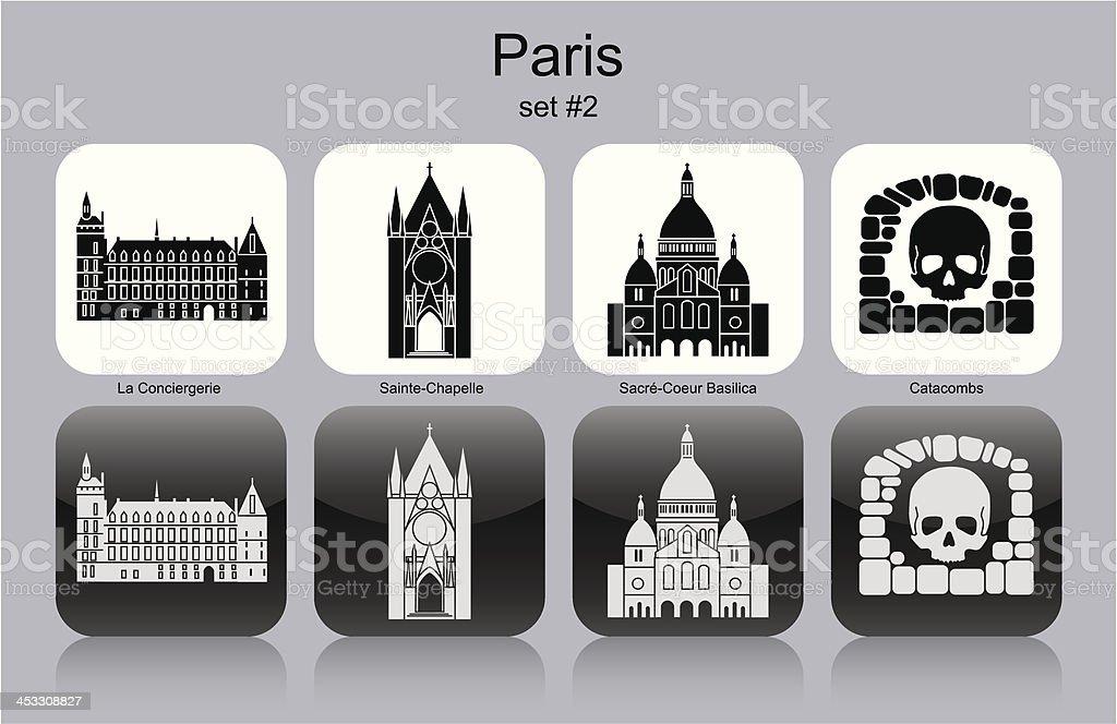 Paris icons vector art illustration