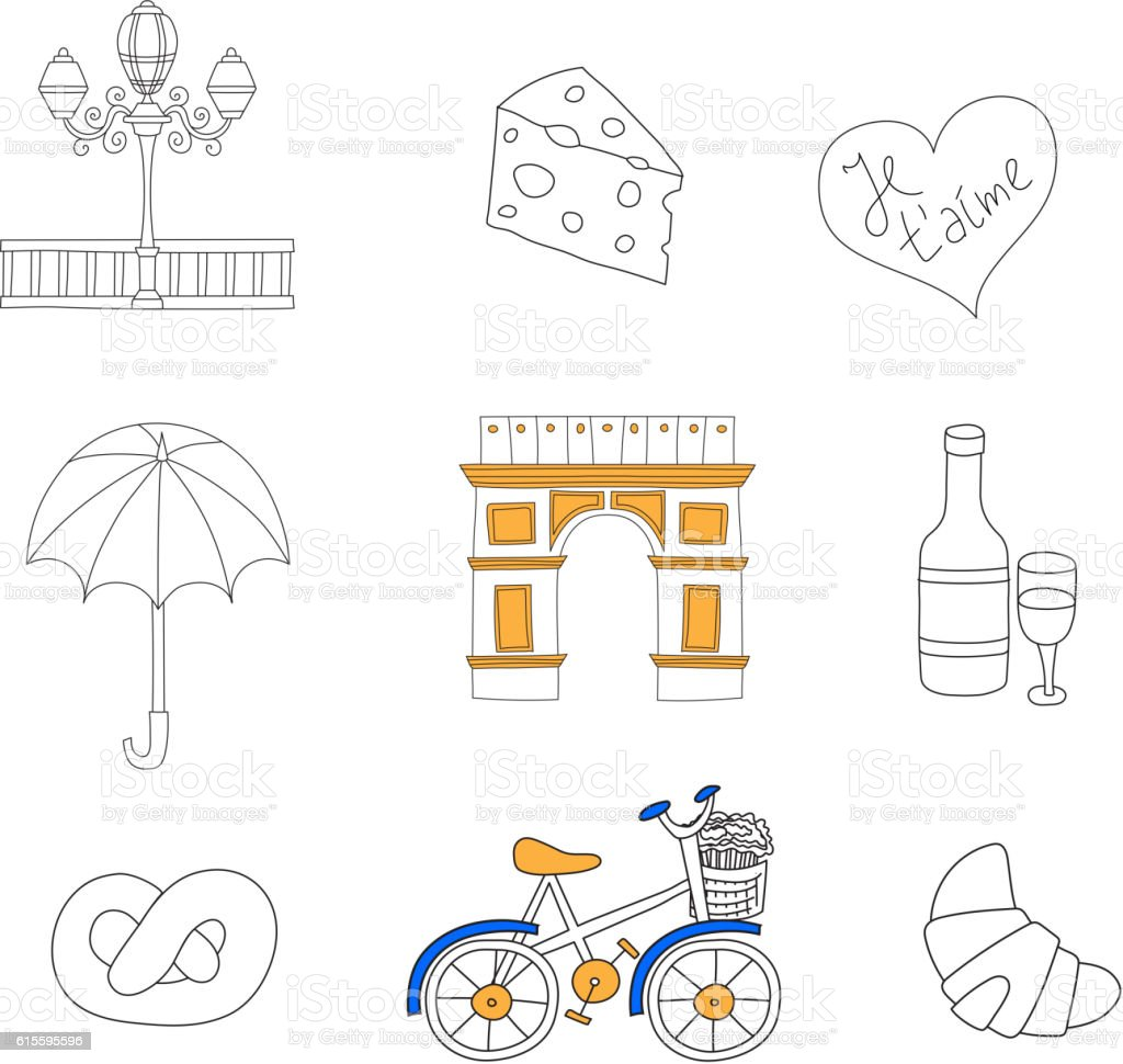 Paris icons vector set. vector art illustration