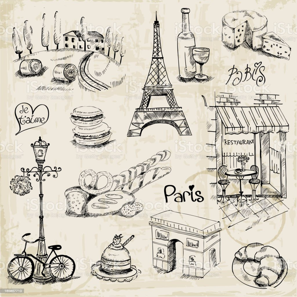 Paris-Illustration-Set – Vektorgrafik