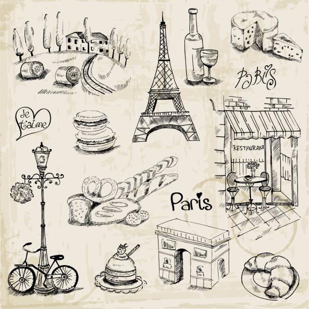 Paris Illustration Set vector art illustration