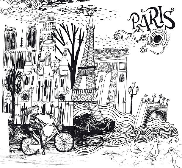 Paris in France illustration Paris in France illustration. Vector illustration paris black and white stock illustrations