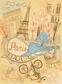 Vector illustration of Paris in France