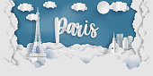 Paris in paper cut style with city and Eiffel tower, France. Paper art cut style illustration.