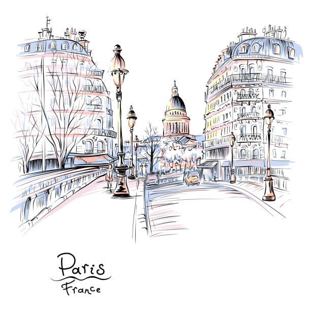 bildbanksillustrationer, clip art samt tecknat material och ikoner med paris i vinter morgonen, frankrike - paris