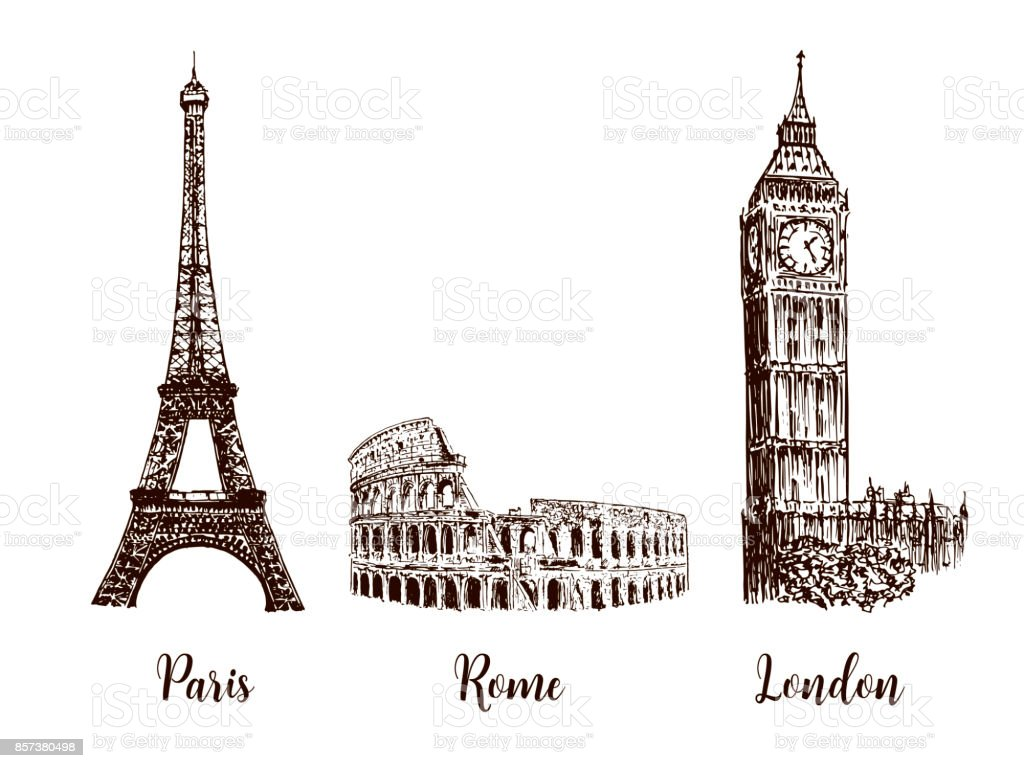 Paris, London Rome. Set of European capitals symbols. Eiffel tower, Coliseum, Big Ben vector art illustration
