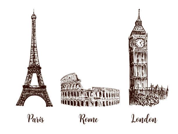 ilustrações, clipart, desenhos animados e ícones de paris, londres roma. conjunto de símbolos de capitais europeias. torre eiffel, coliseu, big ben - moda londrina