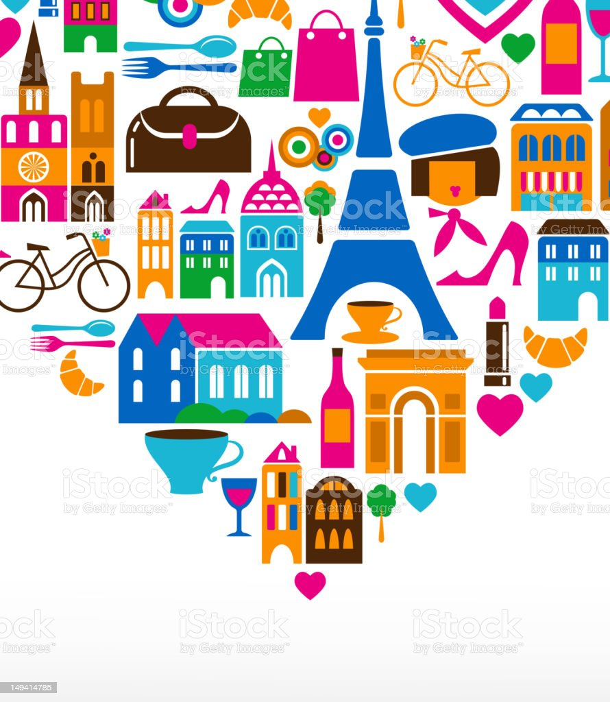 Paris love - vector illustration with set of icons vector art illustration
