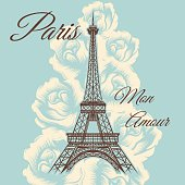 Paris mon amour or Paris my love vintage poster with Eiffel tower and roses. Vector illustration