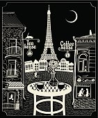 Figure Parisian cafe with a view of the Eiffel Tower at night under the moon