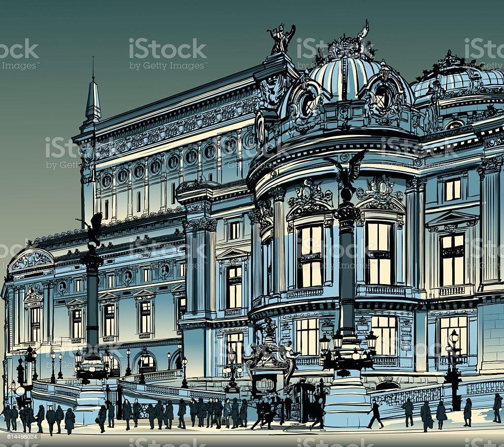 Paris, opera Garnier at night vector art illustration