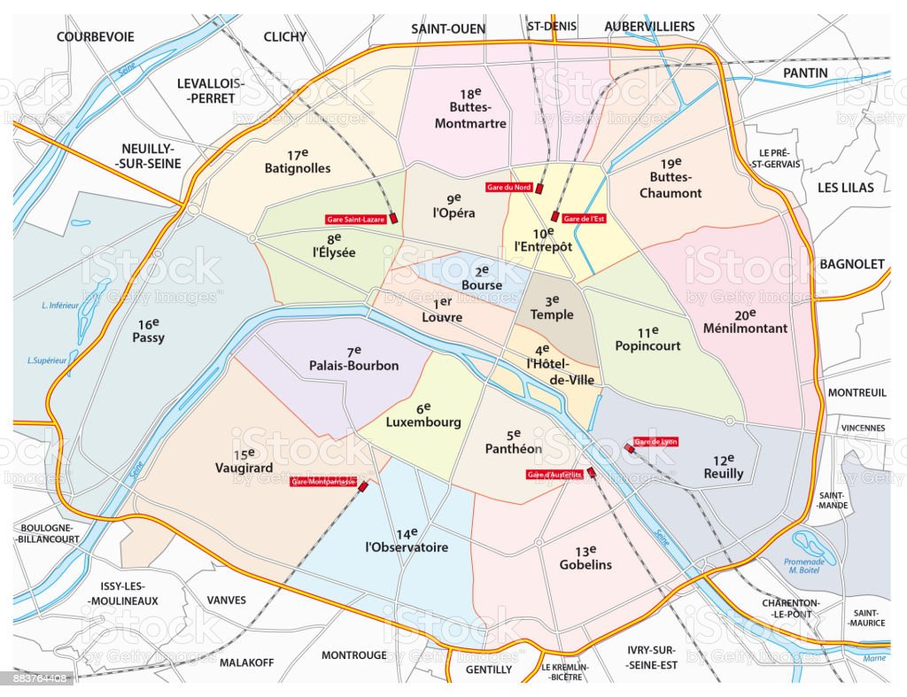 paris road, administrative and political map