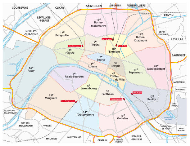 paris road, administrative and political map paris road, administrative and political vector map seine river stock illustrations