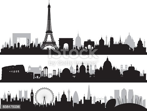 Paris, Rome and London skylines. All buildings are highly detailed, complete and moveable.