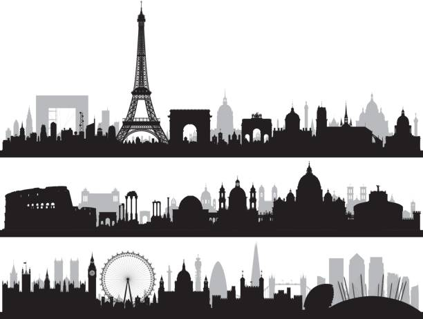 bildbanksillustrationer, clip art samt tecknat material och ikoner med paris, rom och london, alla byggnader är kompletta och rörliga. - paris