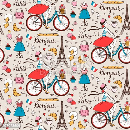 Paris seamless pattern with Eiffel tower, girl on a bicycle, coffee, sweet food, etc.