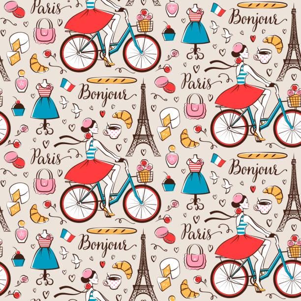 bildbanksillustrationer, clip art samt tecknat material och ikoner med paris sömlösa mönster - paris