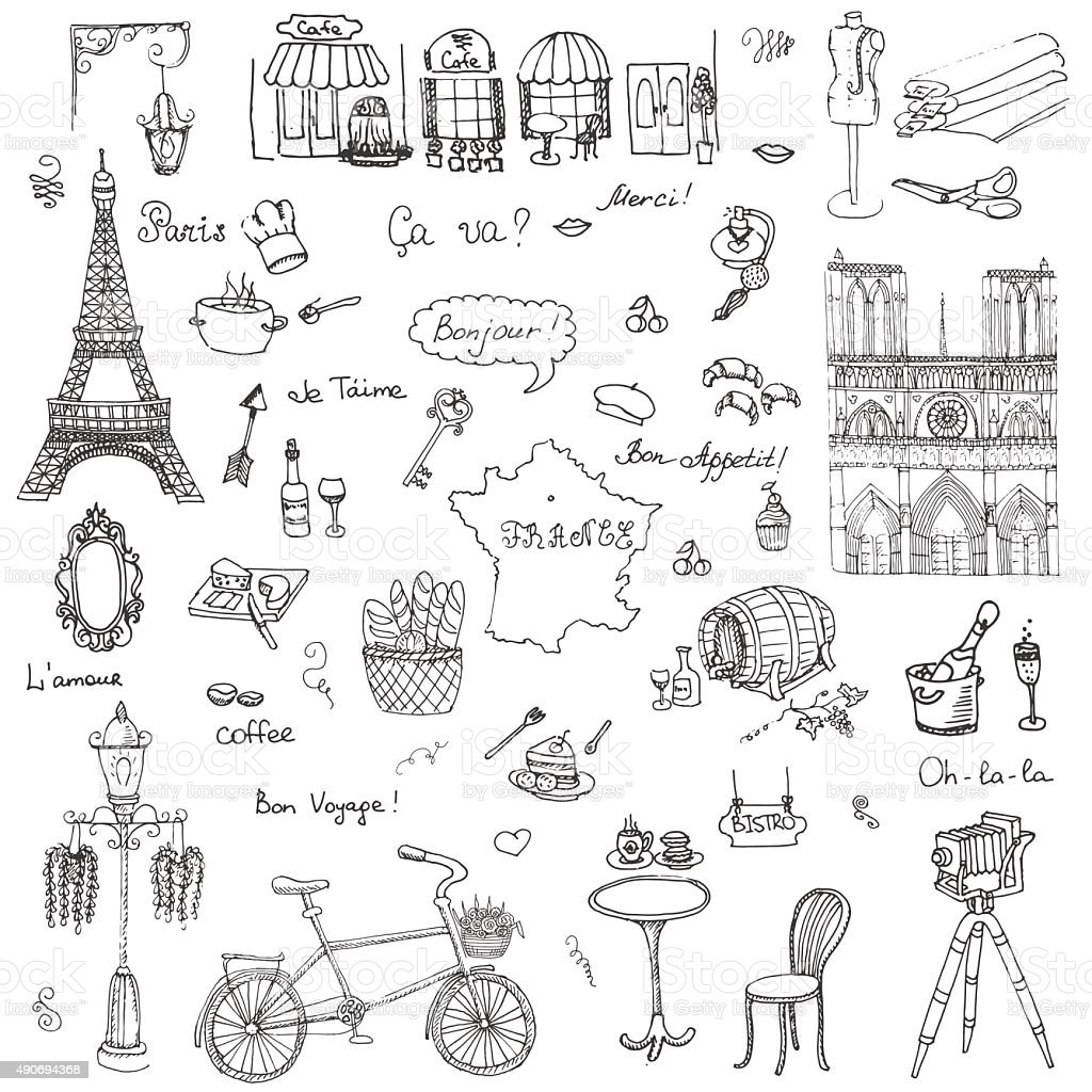 Paris set vector art illustration