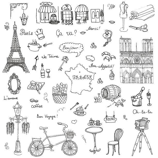 パリのセット - パリのファッション点のイラスト素材/クリップアート素材/マンガ素材/アイコン素材