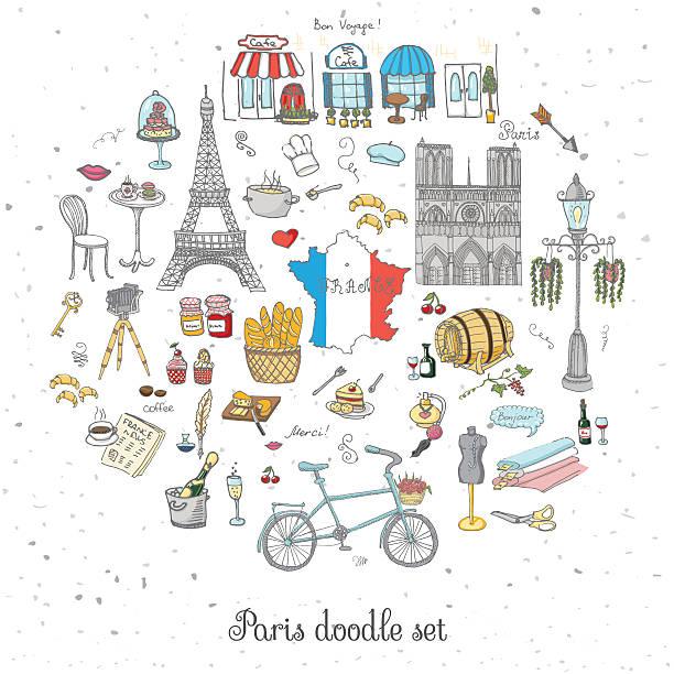 パリのセット - フランス料理点のイラスト素材/クリップアート素材/マンガ素材/アイコン素材