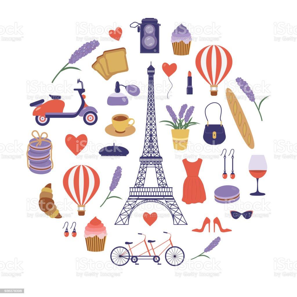 Paris Set with Romantic French Travel Elements vector art illustration
