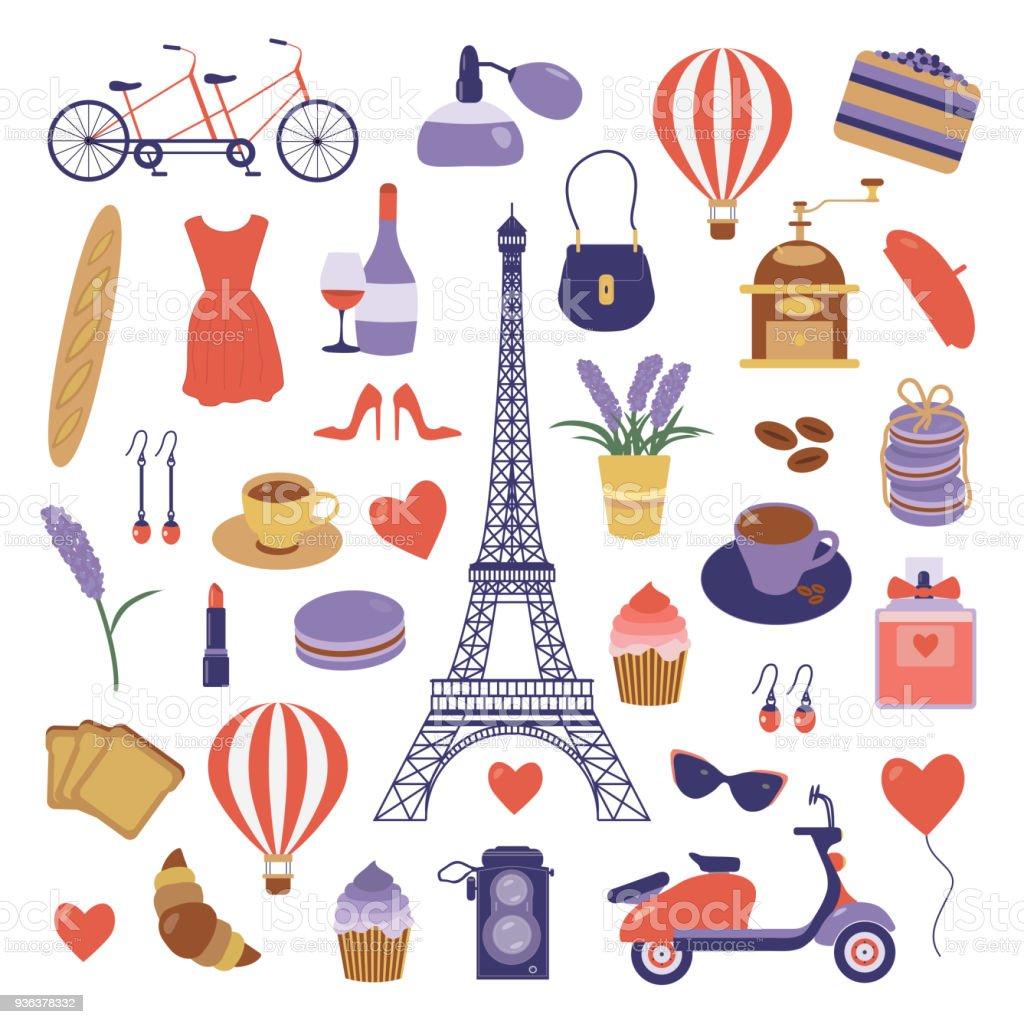 París conjunto con elementos de viaje romántico - ilustración de arte vectorial