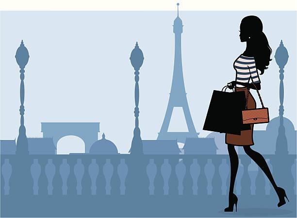 ilustraciones, imágenes clip art, dibujos animados e iconos de stock de paris de compras - moda parisina