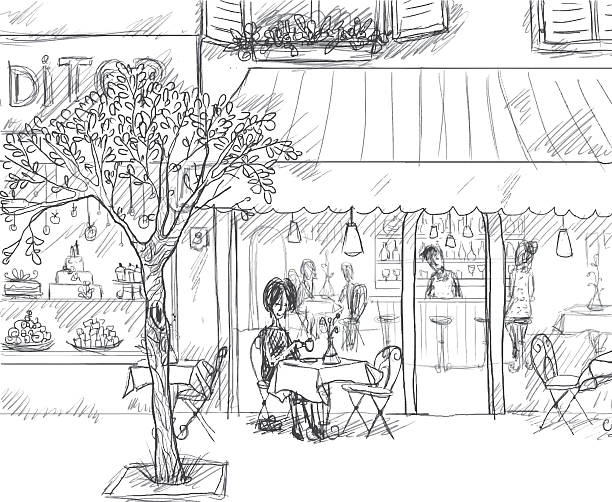 Paris sidewalk Paris sidewalk sketch, with a cafe and a pastry shop. paris black and white stock illustrations