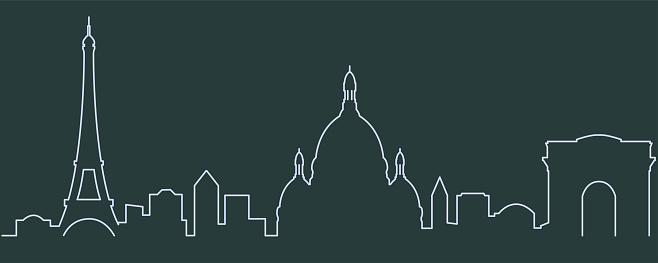 Paris Single Line Skyline