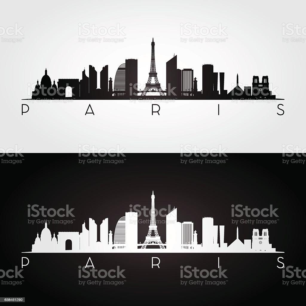 Paris skyline and landmarks silhouette