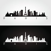 Paris skyline and landmarks silhouette