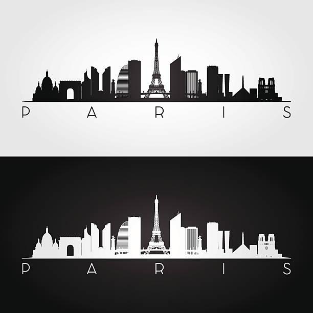 bildbanksillustrationer, clip art samt tecknat material och ikoner med paris skyline and landmarks silhouette - paris