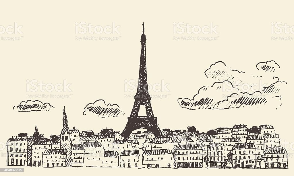 skyline von paris frankreicheiffelturm gezeichnet vector skizze stock vektor art und mehr bilder. Black Bedroom Furniture Sets. Home Design Ideas