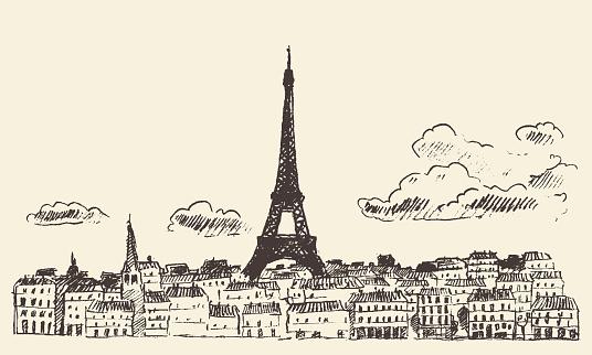 Paris skyline France eiffel sketch drawn vector