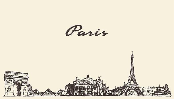 paris skyline france illustration hand drawn - paris stock illustrations, clip art, cartoons, & icons