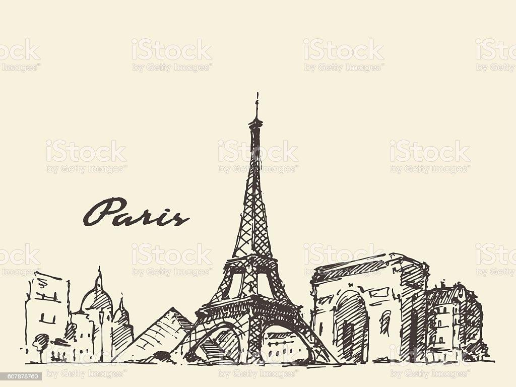 Paris Skyline France Illustration Hand Drawn Royalty Free Stock