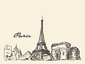 Paris skyline France illustration hand drawn