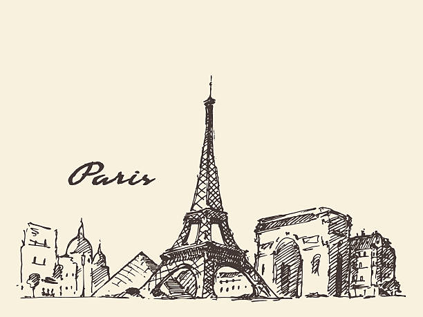 Paris skyline France illustration hand drawn Paris skyline France vintage engraved illustration hand drawn eiffel tower stock illustrations