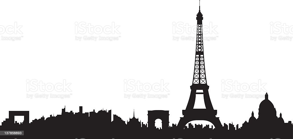 Paris Skyline Silhouette of Paris. The Eiffel Tower is detailed and on a separate layer so can be moved or used separately. (vector) Apartment stock vector