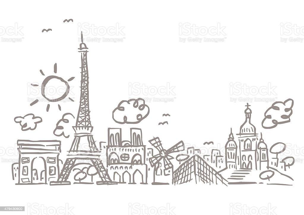 Edificios de la ciudad de París - ilustración de arte vectorial