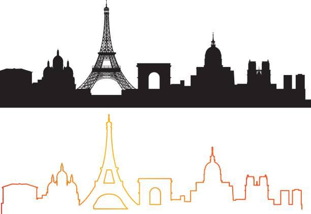 Paris Skyline Vector Paris Skyline paris black and white stock illustrations