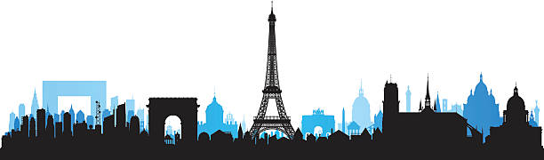 Paris Skyline Each Building Is Moveable And Complete Vector Art Illustration