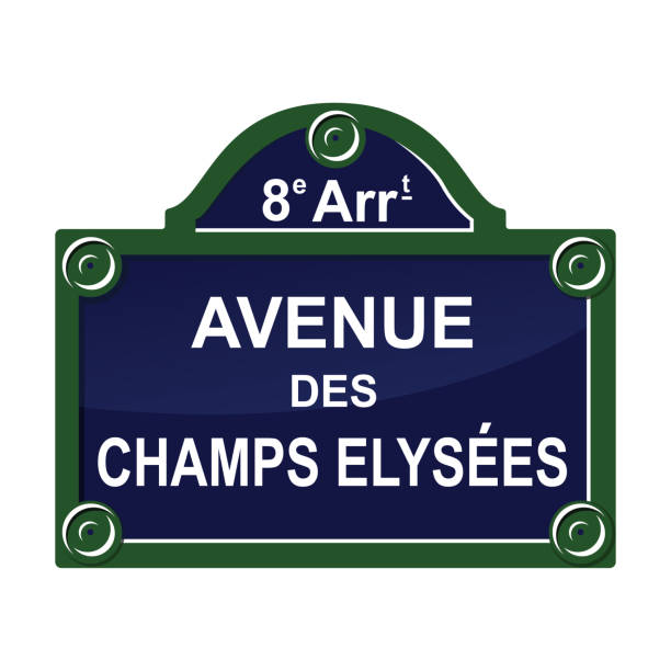 bildbanksillustrationer, clip art samt tecknat material och ikoner med paris-gatan avenue plåt skylt symbol - paris
