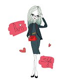 Paris Style Fashion Illustration with a Fashion Girl Wearing Stylish Clothes. Colorful Paris Style Typography with Hearts. Stylish Woman with a Beautiful Red Handbag