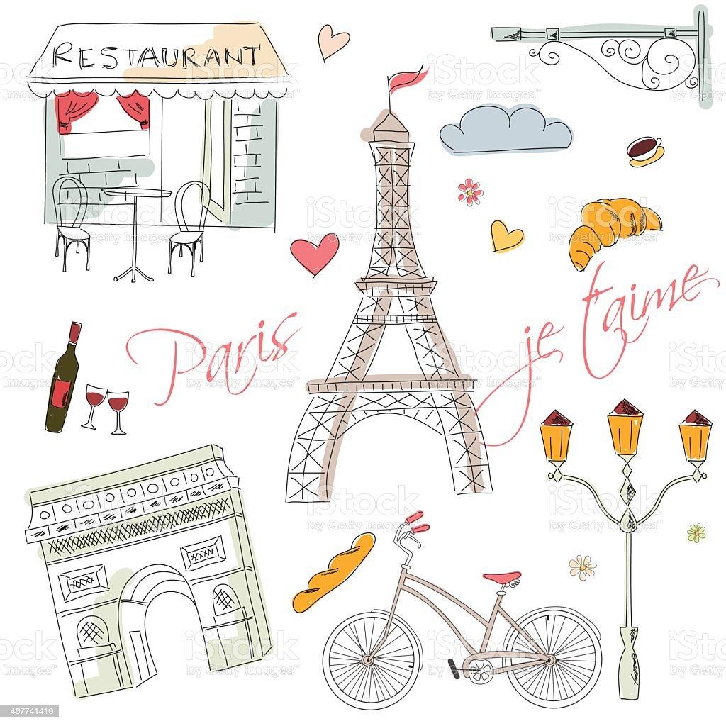 Paris symbols, postcard, hand drawn vector art illustration